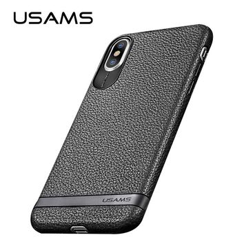 iPhone X TPU Leather Shell Case