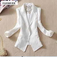 Women Light weight Candy color Blazer jacket With Lace Detailing