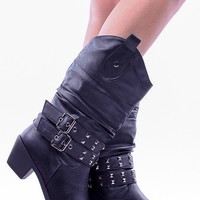 BLACK FAUX LEATHER 2 BUCKLE ACCENT METAL STUDS COWBOY STYLE BOOTS