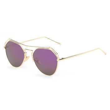 Fashion Elegant Pink Double Bridge Metal Frame Sunglasses UV400 Eyewear For Women 7 Color Leisure