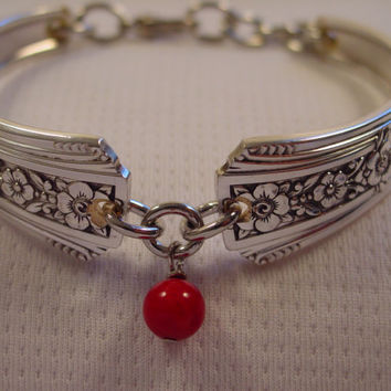 A Pretty Spoon Bracelet Fortune Pattern With Red Bead Vintage Spoon and Fork Jewelry b54