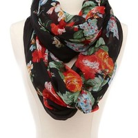 Dark Floral Blossom Infinity Scarf: Charlotte Russe
