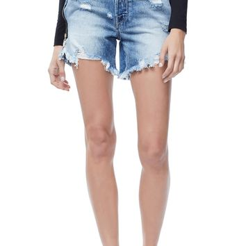 Good American The Bombshell High Waist Distressed Denim Shorts (Blue 165) (Regular & Plus Size) | Nordstrom
