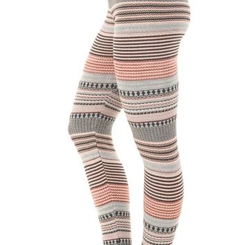 Charcoal Detailed Striped Knit Leggings