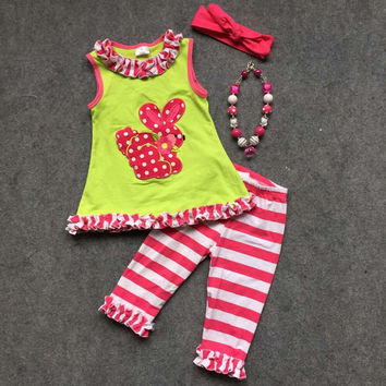 Preorder- pink and green striped bunny capri set