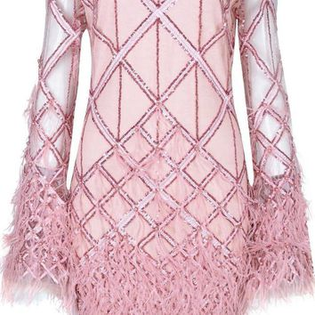 Harper Pink Sequins Feathers Mini Dress