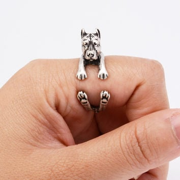 Drop Shipping Fashion Pit Bull Puppy Wrap Ring Hippie Vintage 3D Pitbull Dog Ring Aneis Boho Chic Rings For Women Men Jewelry