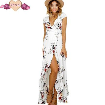 Floral Print Chiffon Long Beach Dress Women Summer Bohemian V Neck Kimono Sexy Sundress Elegant Sash Wrap Bandage Maxi Dresses