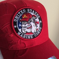 Devil Dog of USMC on a new red ball cap