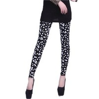 HDE Womens Pattern Leggings Cotton Stretch Pants - One Size - Black and White Polka Dot