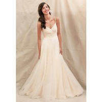 Fancy spaghetti straps informal wedding dress