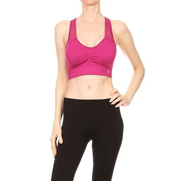 Women's Seamless Racerback with Netted Shoulders and Back Sports Bra