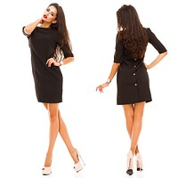 Simple Fashion Back Row Buttons Solid Color Middle Sleeve Mini Dress
