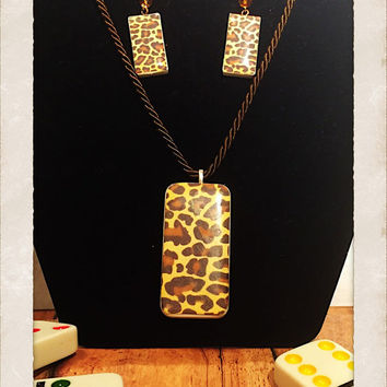 Upcycled domino game piece leopard animal print necklace and mini domino dangle earring set with platinum plated hooks, and glass beads.