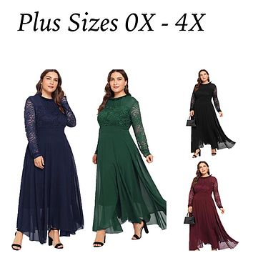 Floral Lace Long Sleeve Ruched Neck Flowy Long Dress, Sizes Small - 4X Plus