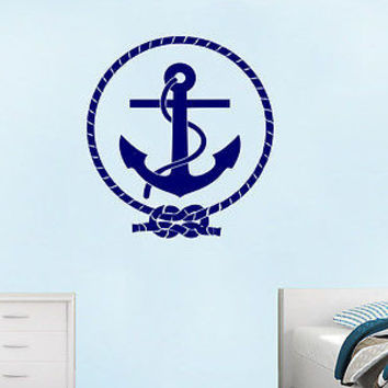 Nautical Anchor Wall Decal Vinyl Sticker Decals Ship Ocean Sea Nursery C410