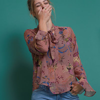 Floral Thread Blouse Top - Mauve Print