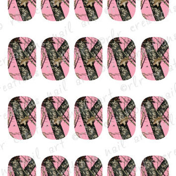 20- Nail Decals Pink Camouflage Water Slide Nail Art Decals. Girly Mossy Oak Camo Style