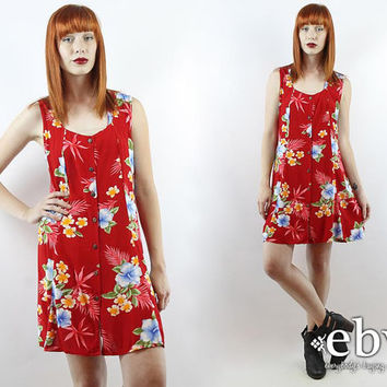 Vintage 90s Hawaiian Floral Mini Party Dress S M L Floral Dress Hawaiian Dress Summer Dress Floral Mini Dress Luau Dress Red Dress 90s Dress