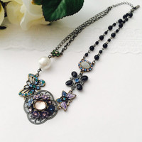 Butterfly charm necklace - flora necklace, pearl, beaded necklace
