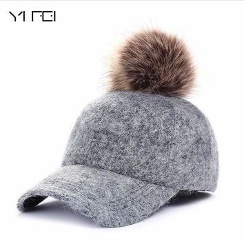 Trendy Winter Jacket Autumn Winter Fashion Polyester Fur Pom Pom Hats Hip Hop Felt Baseball Cap Women Thick Warm Bone Snapback Hat Female AT_92_12