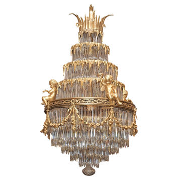 Antique French Baccarat Crystal Waterfall Chandelier