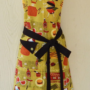 Retro BBQ Apron / Vintage Style Barbecue Apron / Grilling / Picnic / Eclectasie