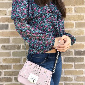 Michael Kors Tina Stud Small Flap Bag Crossbody Blossom Pink Floral Perforated