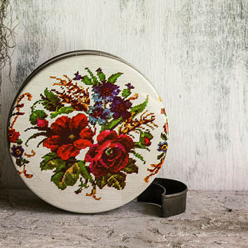 Vintage Round Candy Tin Collectible Cream Petite Point Needlepoint Red Roses Sampler Stitch