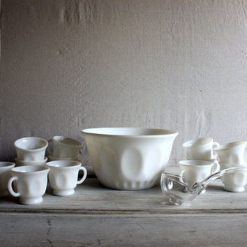 milk glass punch bowl set with glass ladle