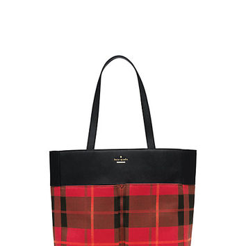 Kate Spade Cameron Street Plaid Cale Cherry Liqueur Multi ONE