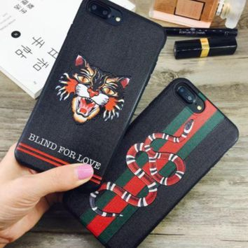 Gucci Tiger Snark Brand Tiger Head Snake Iphone8 Personalized Mobile Phone Shell Iphone7 Popular Logo 6splus Male And Female 7p