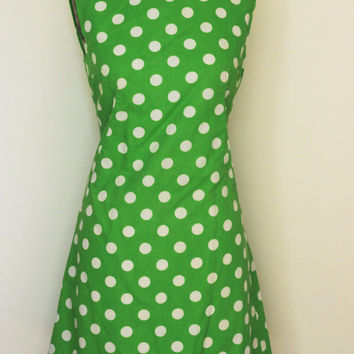 Vintage 1960s Mod Dress / 60s Green and White Polkadot Dress / Polka Dot Summer Dress / 60s Spring Dress