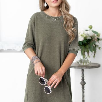 Army Green Waffle Texture Front Dress