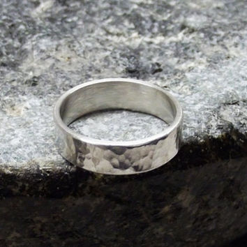 Sterling Silver, 5x1.25mm, Sterling Silver, Handcrafted, Organic, Hammered, Simple Ring Band, Alternative Wedding Band, Unisex, Gift