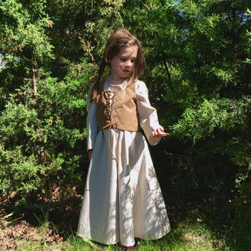 Village Peasant Girl Dress Girls renaissance costume renaissance faire dress LARP costume