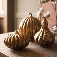 Glass Pumpkins (Set of 3) ~ Antique Orange Finish