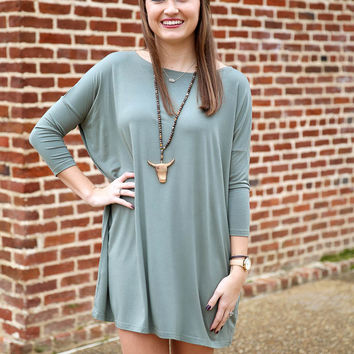 Piko dress 3/4 sleeve - olive