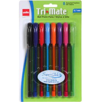 Bulk Cello Tri-Mate Ball Point Pens in Assorted Fashion Colors, 8-ct. Packs at DollarTree.com