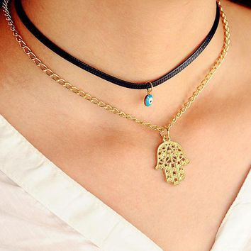 New Multi Layers Black Pu Leather Fatima Hand Chokers Clavicle Necklaces For Women Evil's Eyes Gold Plated Short Collar Jewelrry