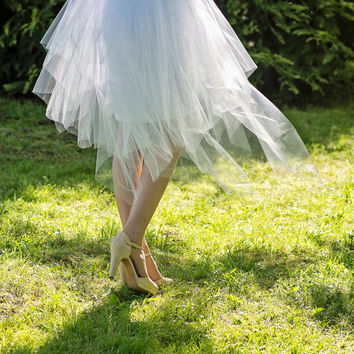 Fairy - tulle overskirt fairy style / textured tulle skirt / tulle skirt with ribbon / wrap skirt / detachable tulle skirt