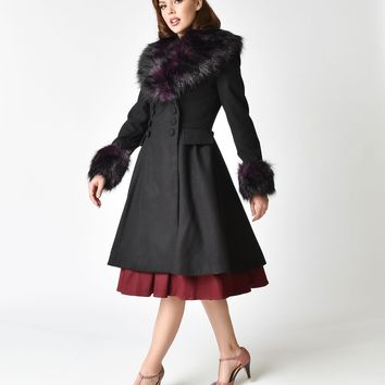 Hell Bunny Black & Purple Faux Fur Rock Noir Coat