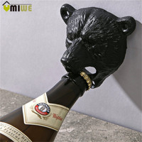 Vintage Style Cast Iron Bear Design Beer Soda Top Opener Wall Mounted Glass Bottle Cap Opener Durable Kitchen Bar Openers Tools