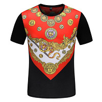 Versace Summer Trending Men Casual Print Short Sleeve T-Shirt Top Tee