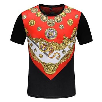 Versace Fashion Casual Men Scoop Neck  Shirt Top Tee