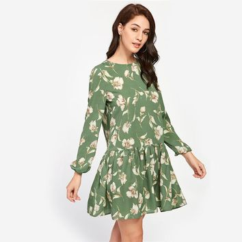 Flower Print Drop Waist Skater Day Mini Dress