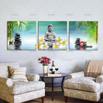 Wall Art Pictures Canvas Paintings Prints 3 Panels Buddha on Canvas Wall Decorations Artwork Giclee Canvas Paintings no frame