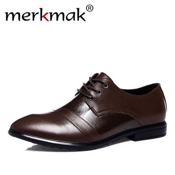 Fashion Brand 100% Genuine Leather Men Dress Shoes Luxury Men's Business Flats Shoes Classic Gentleman Formal Party Oxfords