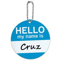 Cruz Hello My Name Is Round ID Card Luggage Tag