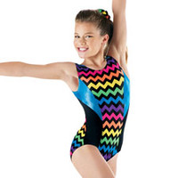 Chevron Metallic Tank Gymnastics Leotard - Balera